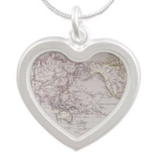 Planispheric Map of the Worl Silver Heart Necklace