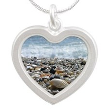 Shells on a shore not far aw Silver Heart Necklace