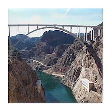 View of bridge behind Hoover Dam. Tile Coaster