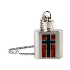 Norwegian Flag Distressed Flask Necklace