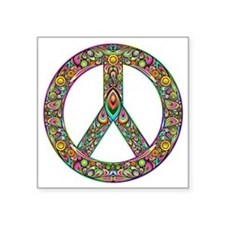 "Peace Symbol Psychedelic Ar Square Sticker 3"" x 3"""