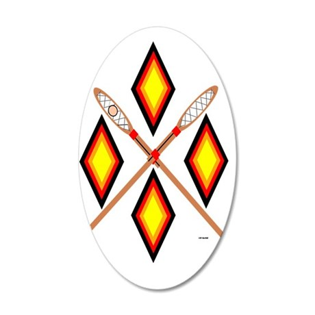SOUTHEAST TRIBAL STICKBALL 35x21 Oval Wall Decal