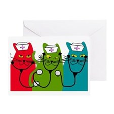 black cats NURSE BEST Greeting Card