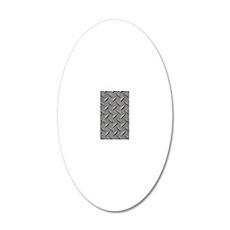 Diamond Plated Steel 20x12 Oval Wall Decal