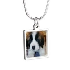 Saint Bernard Puppy Silver Square Necklace