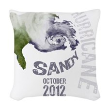 Hurricane Sandy Cloud white Woven Throw Pillow