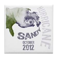 Hurricane Sandy Cloud white Tile Coaster