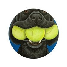 "Black Lab with 3 tennis balls 3.5"" Button"