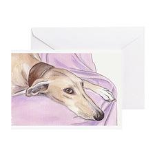 Lurcher on sofa Greeting Card