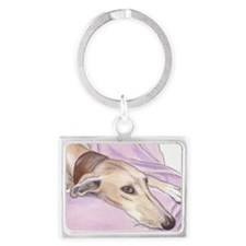 Lurcher on sofa Landscape Keychain
