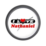I Love Nathaniel Wall Clock