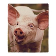 Happy little piglet. Throw Blanket