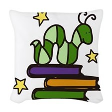 Books And Worm Woven Throw Pillow