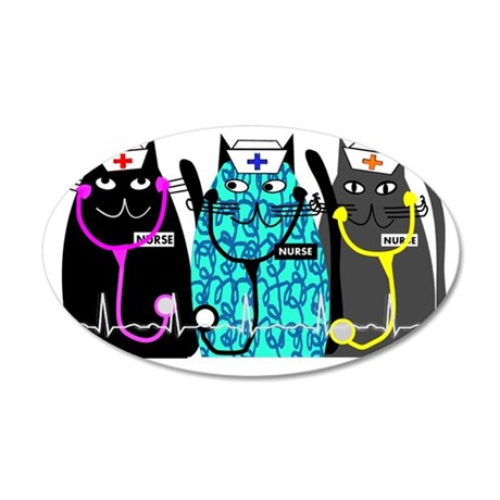 nurse cat NO BACKGROUND 35x21 Oval Wall Decal