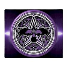 Purple Crow Pentacle Throw Blanket