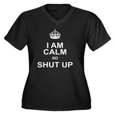 I am calm so Women's Plus Size Dark V-Neck T-Shirt