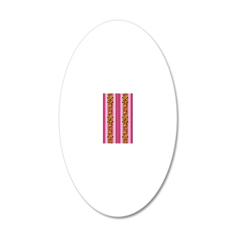 Golden Jewels on Pink 20x12 Oval Wall Decal