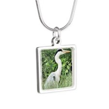 Heron4 Silver Square Necklace