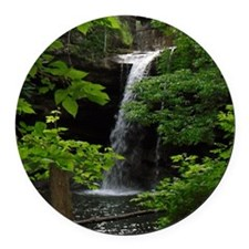 Waterfall Bliss Round Car Magnet
