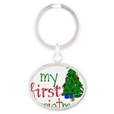 First Christmas Oval Keychain