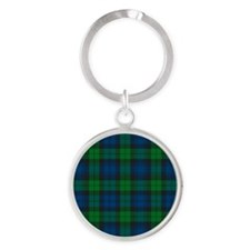 Black Watch Tartan Plaid Round Keychain