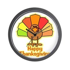 Happy Thanksgiving Turkey Wall Clock
