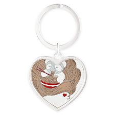 Panda Noodles Heart Keychain