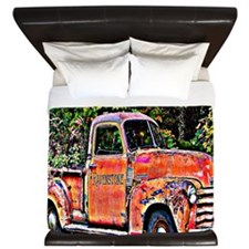 Antique Chevy Truck Crossing The Color  King Duvet