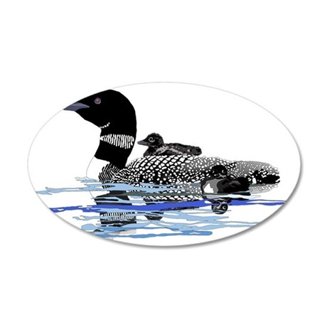 loon with babies 35x21 Oval Wall Decal