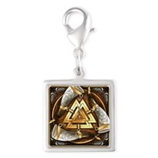 Norse Drinking Horn Valknut Silver Square Charm