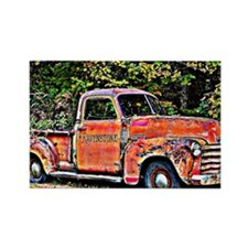Antique Chevy Truck Crossing The  Rectangle Magnet