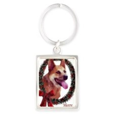 Red Heeler Christmas Portrait Keychain