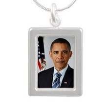 44 Obama Silver Portrait Necklace