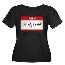 Drug Fre Women's Plus Size Dark Scoop Neck T-Shirt
