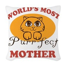 One Purrfect Mother Woven Throw Pillow