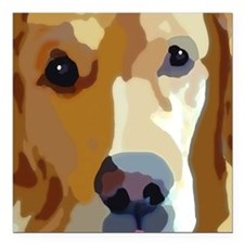 "golden retriever Square Car Magnet 3"" x 3"""