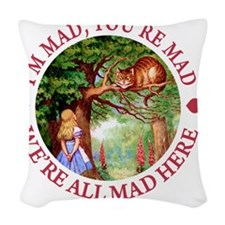 ALICE CAT WERE ALL MAD_RED cop Woven Throw Pillow