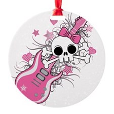 Cute Skull with Pink Guitar Ornament