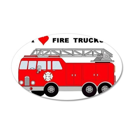 I Heart Fire Trucks! 35x21 Oval Wall Decal