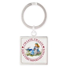 Alice Im late_MARAJA_RED copy Square Keychain