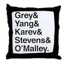 Grey, Yang, Karev, Stevens, Omalley Throw Pillow
