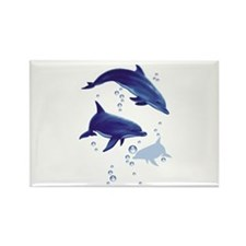 Blue dolphins Rectangle Magnet
