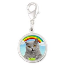 Rainbow Kitty Silver Round Charm