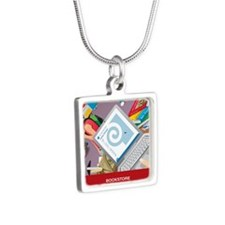 keychain Silver Square Necklace