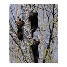 Three Black Bear Cubs in a Tree Throw Blanket