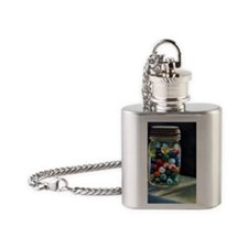 Jar of marbles Flask Necklace