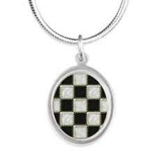 Patchwork black and white Silver Oval Necklace