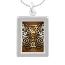 Norse Valknut Dragons Silver Portrait Necklace