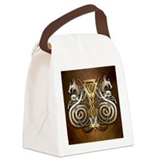 Norse Valknut Dragons Canvas Lunch Bag