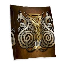 Norse Valknut Dragons Burlap Throw Pillow